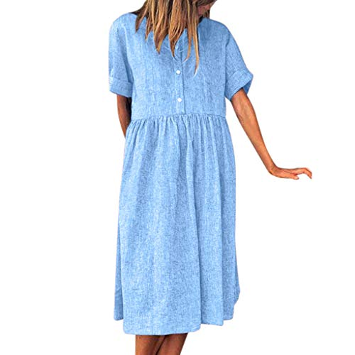 buy online 8cfe0 42bfb Saihui_Women Dress Sundress Estivo da Donna, Scollo Rotondo, Camicia a  Maniche Corte, Stile Impero, Abito da Donna, Stile Casual, con Bottoni,  Tunica ...