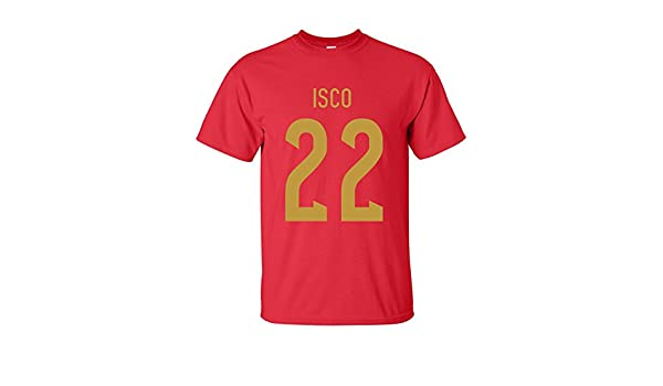 a64bd9be4 UKSoccershop Isco Spain Hero T-shirt (red)  Amazon.co.uk  Sports   Outdoors