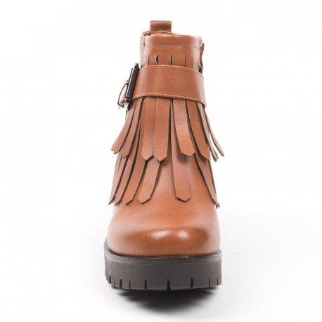 Ideal Shoes - Bottines à talon épais et franges Keina Camel