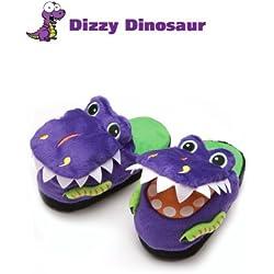 Halloween Dress Up Disfraces Silly Slippeez Super Comfy Kids niños dinosaurio zapatos zapatillas, color morado, talla X-L