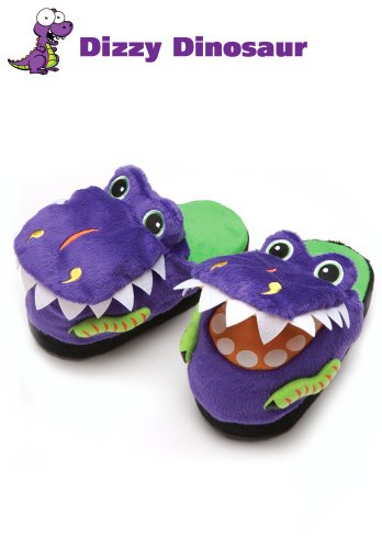 Halloween Dress Up Disfraces Silly Slippeez Super Comfy Kids niños dinosaurio zapatos zapatillas, color morado, talla X-L
