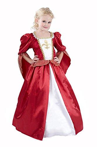 Mittelalterliche Königin Kinderkostüm Prinzessin rot-weiss-gold 122/134 (7-9 Jahre)