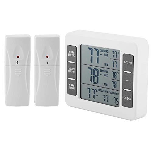 Digital Refrigerater, Wireless Digital Akustischer Alarm Kühlschrank Thermometer mit 2PCS Sensor Min/Max Display