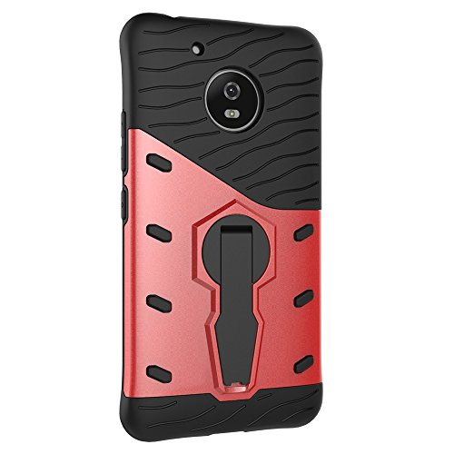 Für Moto G5 Fall Neue Rüstung Tough Style Hybrid Dual Layer Rüstung Defender Soft TPU / PC Rückseitige Abdeckung Fall Mit 360 ° Stand [Shockproof Case] ( Color : Red ) Red