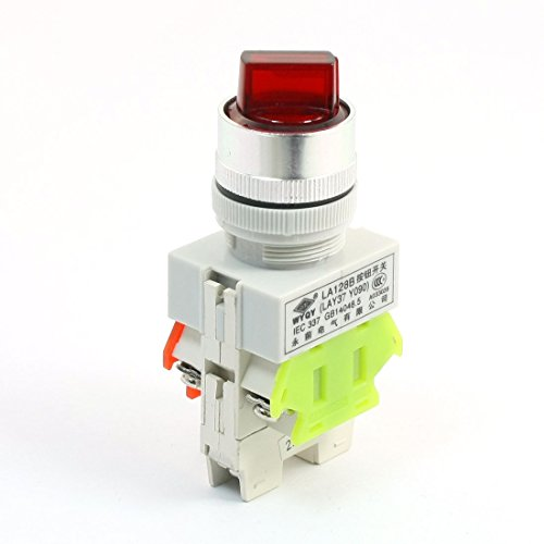 Aexit 660V 10A 3 Selector Position Red Light Self Locking 1S + 1Ö DPST Rotary Switch (Light Rotary Switch)