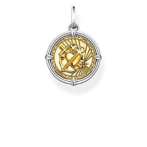 THOMAS SABO Unisex Anhänger Glaube, Liebe, Hoffnung 925 Sterlingsilber, Geschwärzt, 750 Gelbgold Vergoldung PE870-849-7