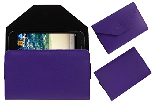 Acm Premium Pouch Case For Micromax Canvas 4 A210 Flip Flap Cover Holder Purple  available at amazon for Rs.179