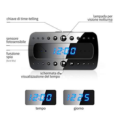 FREDI 1080P WIFI telecamera Spia Orologio-sveglia HD videocamera nascosta Mini Microcamere telecamera di sorveglianza Videocamera di Sicurezza Wireless ip camera Interno Spy Cam WIFI Fotocamera - 5