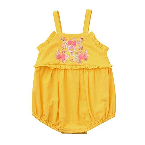 Gestickte Kragen Body (Knowin-baby body Sommer Baby ärmelloses Armband Einfarbig Gestickte Blume Candy Color Hajj Klettern in Gelb, Pink, Weiß Baby Strampler Hirolan Mädchen Streifen Kurzarm-Shirt (3M-24M))