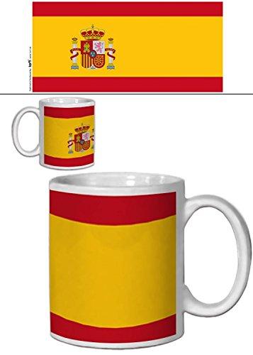 1art1 Set: Spanien, Flaggen Der Welt Foto-Tasse Kaffeetasse (9x8 cm) Inklusive 1x Überraschungs-Sticker -