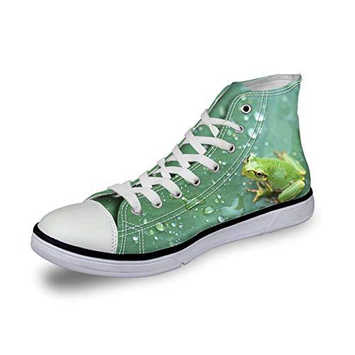 Women Canvas Shoes Lace up Sneakers Hi Top Trainers Boots Vulcanized Shoes Green CC2079AK Frog US 5 \u002F EU 35