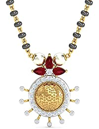 KuberBox Yellow Gold, Diamond and Ruby Mangalsutra for Women