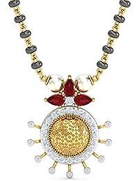 KuberBox Yellow Gold, Diamond and Ruby Mangalsutra for Women