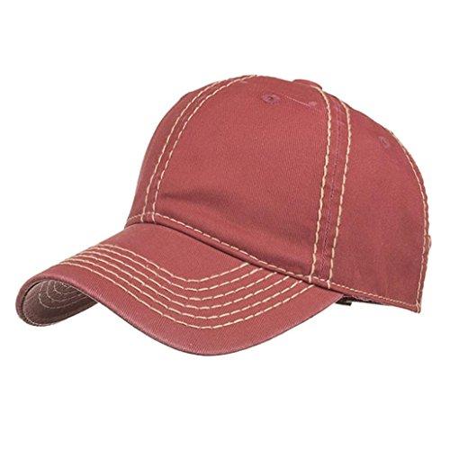 ren und Damen, Einstellbare Gewaschen Einfarbig Baseball Hut Casual Cap Schatten | Basecap, Baseball Cap, verstellbar (Wine Red) (Roll-up Outdoor-schatten)