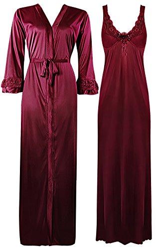 The Orange Tags eleganti da donna con lunghi da donna a maniche lunghe pigiama Set 8–18 Deep Red