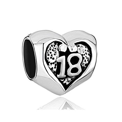 Uniqueen Perlenanhänger Herz mit Zahl 18 für Armband aus Sterlingsilber, Geschenk zum 18.Geburtstag, Herz, Charms für Armband (Pandora Charm Zahl)
