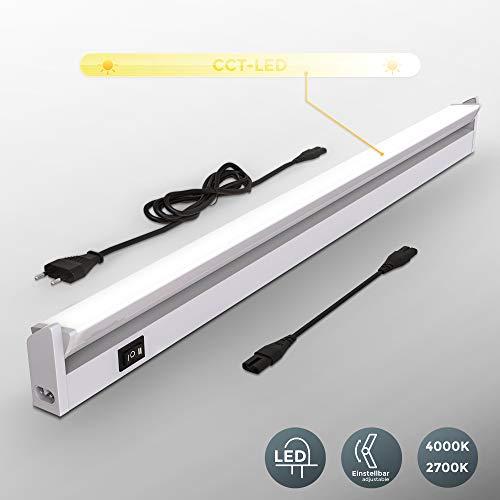 B.K.Licht Réglette LED orientable pour cuisine, plan de travail ou atelier, Longueur 55cm, Platine LED 8W intégrée, 450Lm, lumière blanche chaude ou froide réglable (2700/4000K)