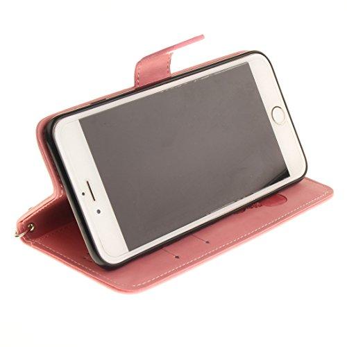 Pheant® Apple iPhone 6/6S (4.7 pouces) Coque Rouge Étui à Rabat Pochette en Cuir PU Cover Gel Housse de Protection avec Fonction de Support et Fermeture Magnétique Panda Motif de daufrage Rose