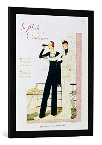 Gerahmtes Bild von French School Pyjamas de Bateau, fashion design by Jane Regny, from 'Femina' magazine, 1930s, Kunstdruck im hochwertigen handgefertigten Bilder-Rahmen, 50x70 cm, Schwarz matt (1930-magazin)