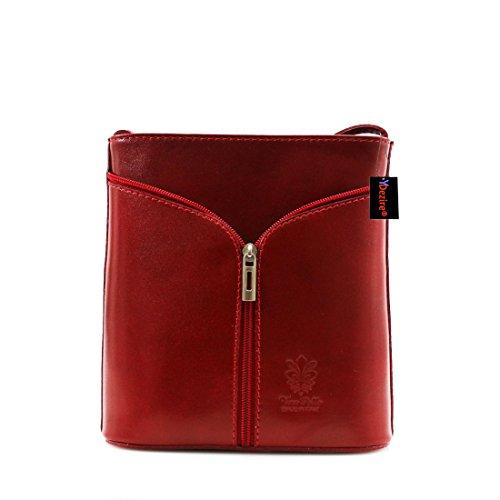 Da donna in vera pelle a tracolla da donna, borsetta a tracolla New Red