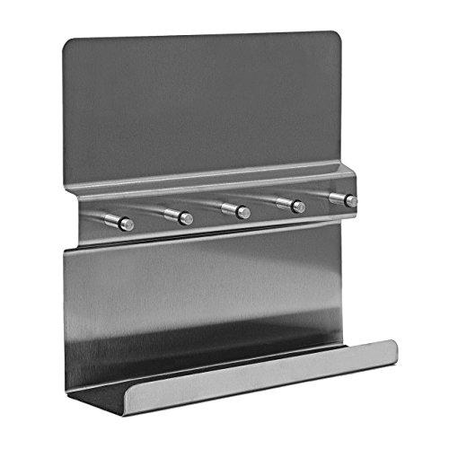 Relaxdays-Portachiavi in acciaio inossidabile, con magnete-Porta memo