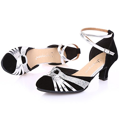Azbro Women's Patchwork Cross Strap Latin Dance Shoes Black&silver