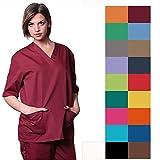Berufsbekleidung für Pflege- und Medizinbranche Kittel mit V-Ausschnitt und Hose, Unisex (XXL, Burgunderrot) in 18Farben erhältlich
