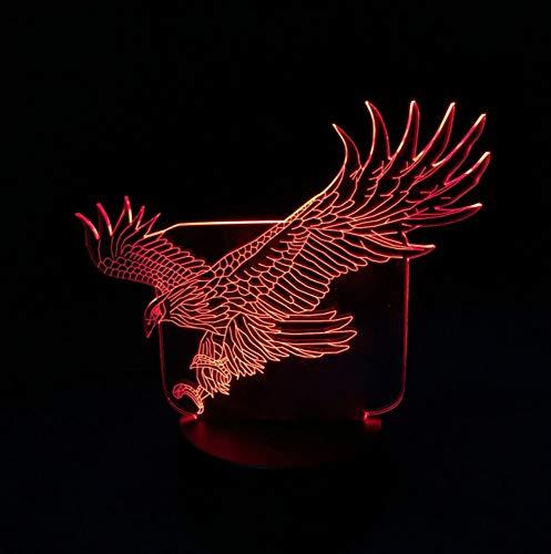 étonnante Flying eagle grande forme lumière nuit colorée faucon table 3D pour bureau Bar chambre d'hôtel
