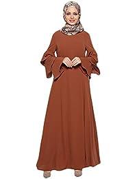 Muslimische Knöchellang Kleid Tunika mit Rüsche Langarm Casual Maxikleid Abendkleid Gewand Damen Hochzeit Kaftan Robe Muslim Frauen Lang Kleid Islamische Caftan Kleidung