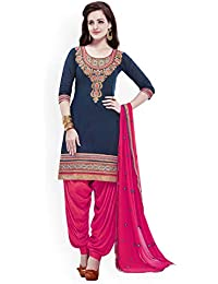 Nivah Fashion Women's Pure Cotton Embroidery Patiyala Salwar Suit (Free Size_Semi-Stich) G17