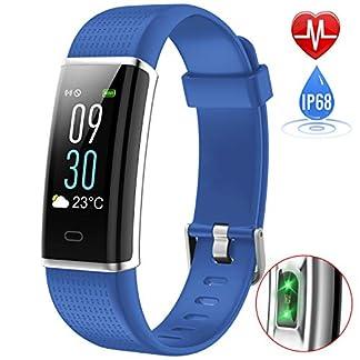 iPosible Pulsera Actividad, Impermeable IP68 Reloj Inteligente Color Pantalla Pulsera Inteligente Pulsómetro Pulsera Podómetro, Monitor de Sueño SMS Notificación para Hombre Mujer(24 Meses Garantía)