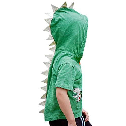Tyoby Baby Jungen Ärmelloses Cartoon-Dinosaurier-Hoodie-Oberteil,Sommer Creative kinderkleidung(GrünA,120)