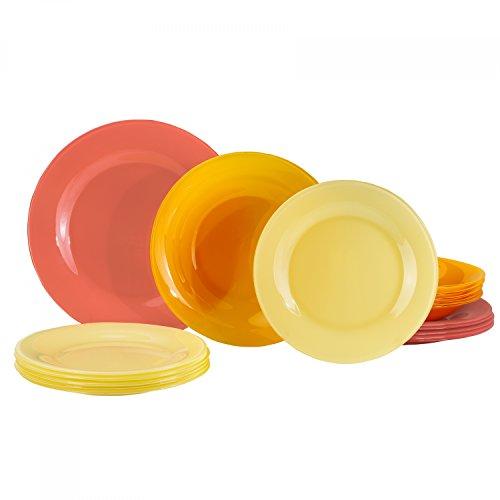 18tlg Glasteller Serie Tone Speiseteller Suppenteller Dessertteller, Farbe:rot ()