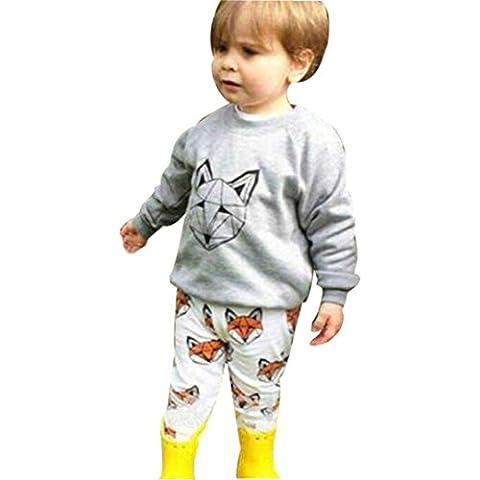 Koly 1 juego infantil del muchacho del bebé Fox impresión de la historieta camiseta tops + Pants Conjuntos de ropa (90)
