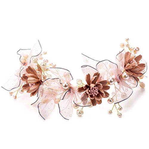 LUOEM Blumen Mädchen Kronen Haarband Blumenperlen Blumen Haar Reben, die Brautkopfschmuck Wedding sind