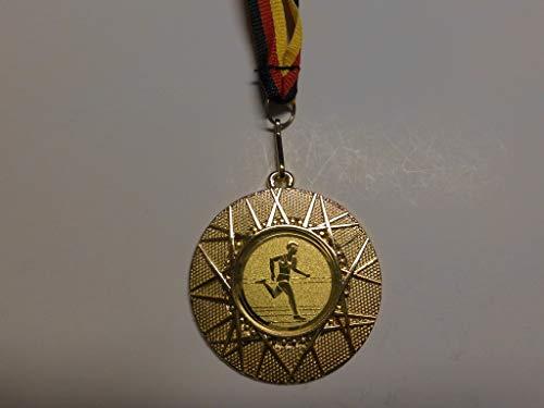 Fanshop Lünen 20 x Medaillen aus Metall 50mm - mit Einem Alu Emblem - Leichtathletik - Laufen - Sprinten - Lauf - inkl. Medaillen Band - Farbe: Gold - mit Emblem 25mm - (e225) -