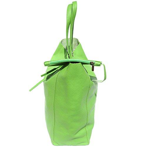 Tote-Einkaufstasche aus echtem Leder 9121 Licht Grün