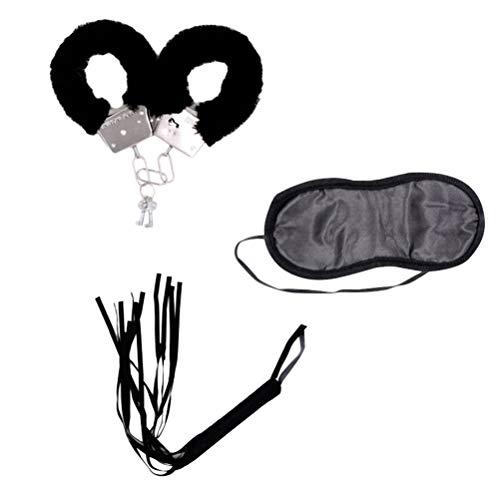 Amosfun Erwachsene Spielzeug Sex Handschellen Peitsche Augenbinde Sex Supplies Erwachsene Flirten Spielzeug Bondage Spielzeug für Liebhaber Paar Erwachsene Party Favors