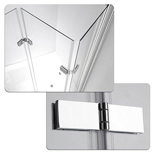 ZEARO Duschabtrennung Badewanne Duschwand Badewannenfaltwand Glas Dusche 3 Flügel Nano