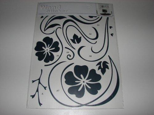 Wand Blume (Wandtattoo graue Blumen Sticker Wandschmuck Wand Tattoo 50 cm x 72 cm)