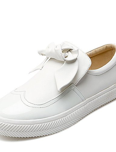 ZQ Scarpe Donna-Mocassini-Formale / Casual-Comoda / Punta arrotondata-Plateau-Finta pelle-Nero / Bianco , white-us8 / eu39 / uk6 / cn39 , white-us8 / eu39 / uk6 / cn39 black-us6.5-7 / eu37 / uk4.5-5 / cn37