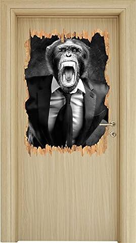 Monocrome, Mad Monkey dans une percée en bois de costume en apparence 3D, la taille de la vignette mur ou de porte: 92x62cm, stickers muraux, sticker mural, décoration