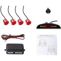 Cocar Coche Auto Vehículo Visual Reserva Radar Sistema con 4 Estacionamiento Sensores + Distancia Info Vídeo Salida + Sonido Advertencia (Rojo Color)
