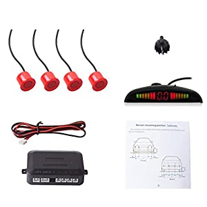COCAR Car Auto Vehicle Reverse Backup Radar System with 4 Parking Sensors Distance Detection + LED Distance Display + Sound Warning - Red