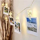 LED-Lichterkette mit Clip, Weihnachtslichter, Hochzeit, Party, Heimdekoration, zum Aufhängen von Fotos, Karten und Memos, batteriebetrieben 19.6''40led