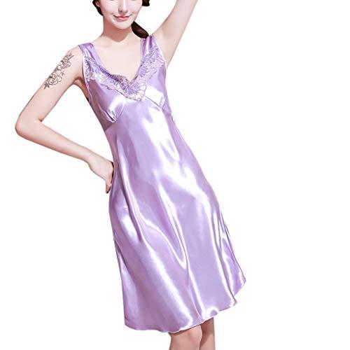 Dkny-pyjama (MRULIC Damen Sexy Satin Lingerie Sleepwear Ärmellos Pyjamas Unterwäsche Nachthemd(Violett,EU-38/CN-L))