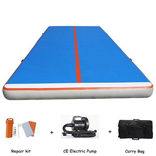 Lysunny Aufblasbare Gymnastikmatte für Fitnessübungen (Blauweiß, 3mLx1mWx0.2mH)