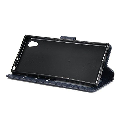 Hülle für Sony Xperia XA1, Tasche für Sony Xperia XA1, Case Cover für Sony Xperia XA1, ISAKEN Farbig Blank Muster Folio PU Leder Flip Cover Brieftasche Geldbörse Wallet Case Ledertasche Handyhülle Tas Nappa Blank Dunkelblau