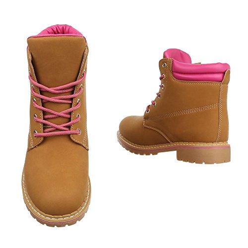 Schnürboots Damen Schuhe Combat Boots Blockabsatz Schnürer Schnürsenkel Ital-Design Stiefeletten Camel Rosa 2017-17-
