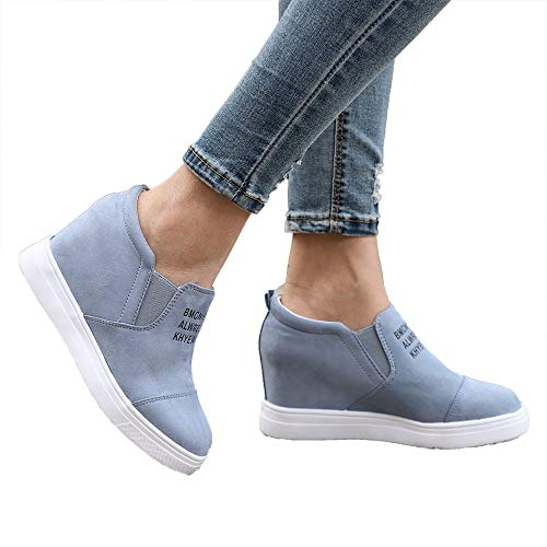 Miuko Plateau Sneaker Damen Leder Keilabsatz Hohe 7 cm Absatz Slip On Wildleder Loafers Wedges Ankle Boots Casual Bequeme Blau 37